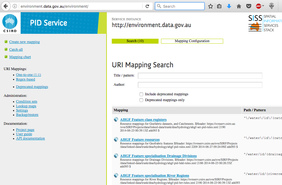 Screenshot of the environment.data.gov.au PID Service