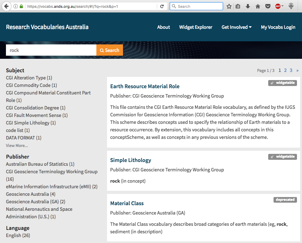 ANDS' Research Vocabularies Australia portal